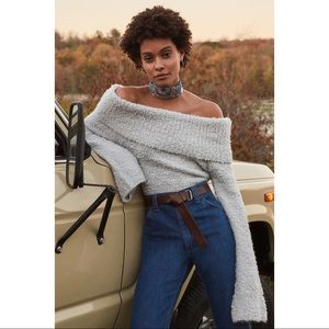 NWT UO Off Shoulder Fuzzy Grey Sweater
